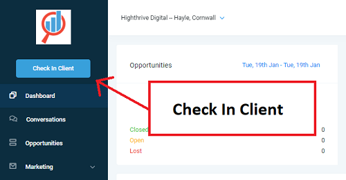 GoHighLevel's reputation manager client check in functionality
